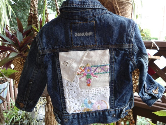 Upcycled baby girls denim jacket with collage applique of vintage linen and lace size 12 month