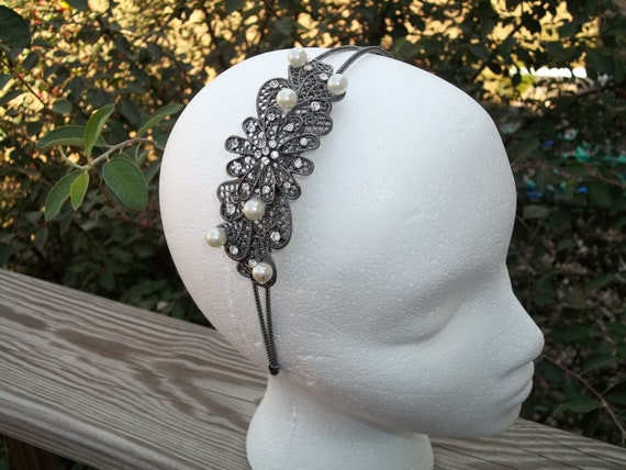 pearl and diamond headband.  silver headband