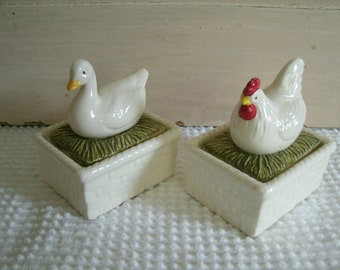 Chicken and Duck Trinket Box, Ceramic What Not Duck and Chicken Box, Country Animal Storage
