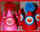 Elmo Inspired Birthday Party Hats- Set of 6--- Pink and Red Elmo Hats, Red and Blue Elmo Hats, Red and Teal Elmo Hats