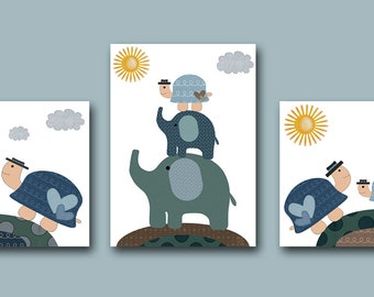 "Baby Print Baby Boy Nursery Decor Art for Children Kids Wall Art Baby Boy Room Decor Baby Boy Art set of 3 8""x10"" elephant turtle blue brown"