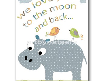 Decoration Baby Boy Nursery Wall Decor Baby Nursery Wall Art Kids Art Boy Nursery Decor kids Art Print Gray Hippopotamus Baby Bird