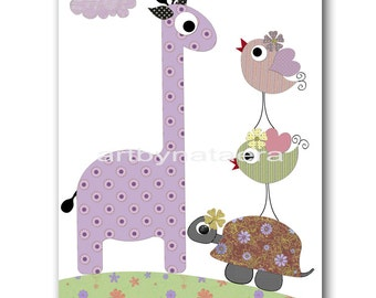 Baby Gift Baby Print Art for Kids Room Kids Wall Art Baby Girl Nursery Baby Room Decor Girl Nursery Art Giraffe Purple Violet Turtle