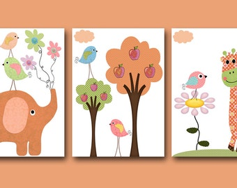 Baby Girls Room Decor Baby Girl Nursery Prints Kids Print Baby Girl Decor set of 3 Prints Tree Birds Giraffe Elephant Red Orange Green
