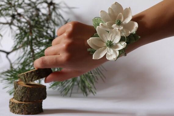 Rustic wedding corsages, rustic bracelet, country rustic wedding, rustic bridal bracelet, magnolia corsage