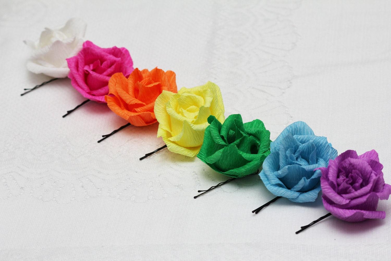 Bobby Pins 7 Pcs Flower Bobby Pins Rose Bobby Pins Purple