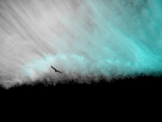 Teal black and white storm birds landscape mixed media print