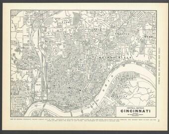 Vintage Map Cincinnati Ohio From 1937 Original