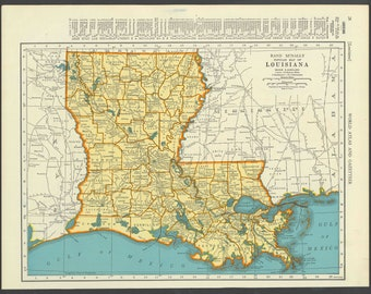Vintage Map Louisiana From 1937 Original