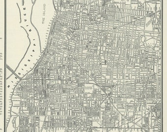 Vintage Map of Memphis Tennessee From 1937 Original