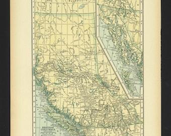 Vintage Map British Columbia Canada From 1930 Original