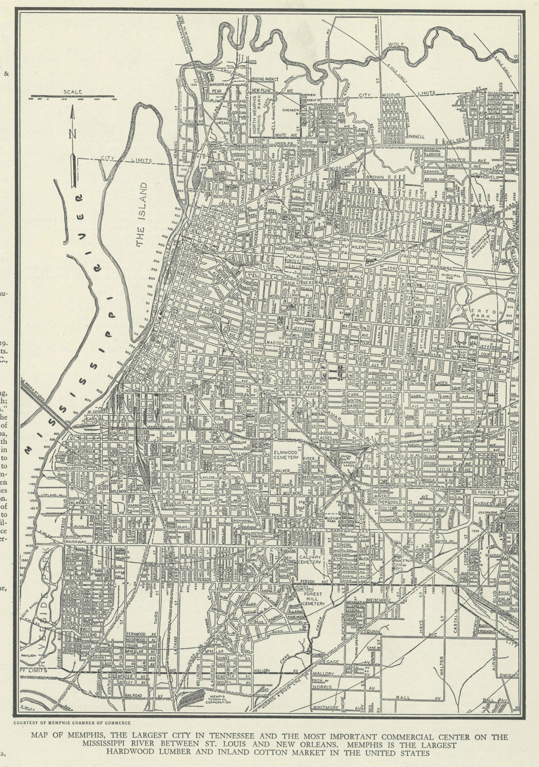 Vintage Map Of Memphis Tennessee From Original - Memphis tn on us map