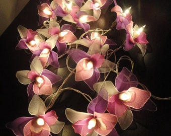 Battery or Plug 20 Pink White Purple Orchid Flower Fairy String Lights Party Patio Wedding Garland Gift Home Living Bedroom Holiday Decor