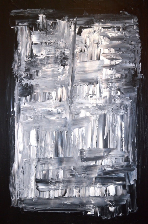 Large Acrylic Abstract Art Painting Black, White and Grey - Modern, Contemporary, Original 24 x 36