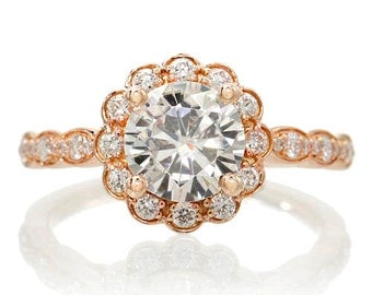 18K Rose Gold 7mm Round White Topaz Vintage Design Scalloped Diamond Halo Style Engagement Anniversary Ring