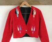 Vintage Chimayo Style Red Cropped Jacket