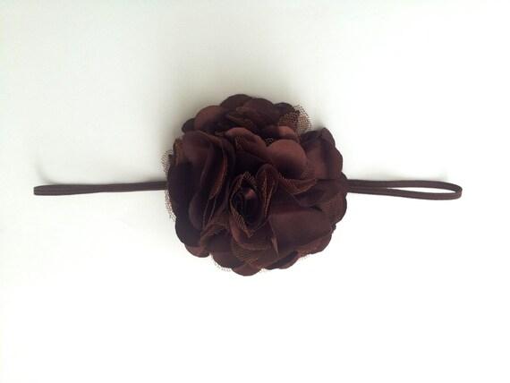 Chocolate brown satin flower headband, girls headband, girls accessories, hair accessory, flower girl, back to school, kids headband, baby