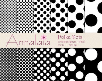 Black Digital Paper Pack Black and White Polka Dots Printable Scrapbook Paper Instant Download Commercial Use 001