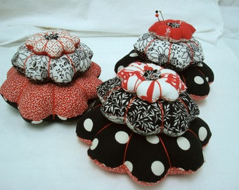 Tiered Flower Shape Pincushion - Fun Black/White/Red combo fabrics - Handmade