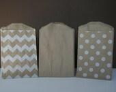 "30 Assorted Mini Kraft Bags - 2.75""x4"" - 10 each Kraft, Polka Dot, Chevron Stripe"