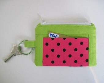 Watermelon Summer Wallet, Zipper Coin Wallet with Key Ring and Pockets, 5.25 x 3.5 inches