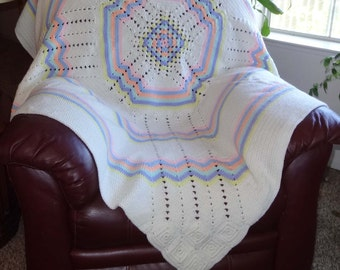 Beautiful Hand Crocheted Afghan White With Pastel Colors