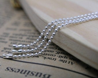 30pcs 28'' Silver Ball Chain Necklace 1.5mm Bead Lead Free Best For Scrabble Tiles, Dog Tag, Glass Pendant