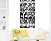 130x60CM House Rules Art words  Nature Vinyl Wall Paper Decal Art Sticker Q739