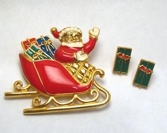 Santas Sleigh Brooch/Pin and Earrings Set - AVON - Vintage 1992 Christmas Jewelry