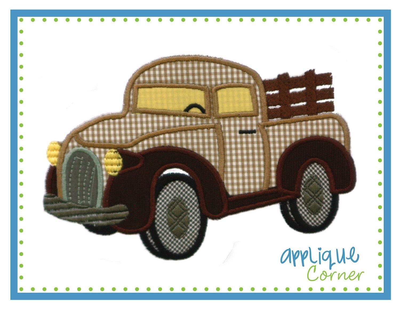 Antique truck applique digital design for embroidery