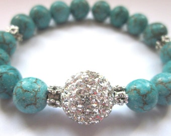 Sparkling Pave Bracelet- Magnesite Gemstone, turqouise, Summer jewelry, disco ball