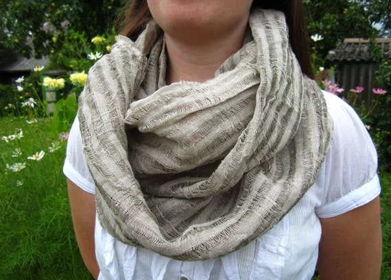 Infinity linen scarf Natural linen scarf Summer linen scarf Natural organic linen scarf Fashion scarves
