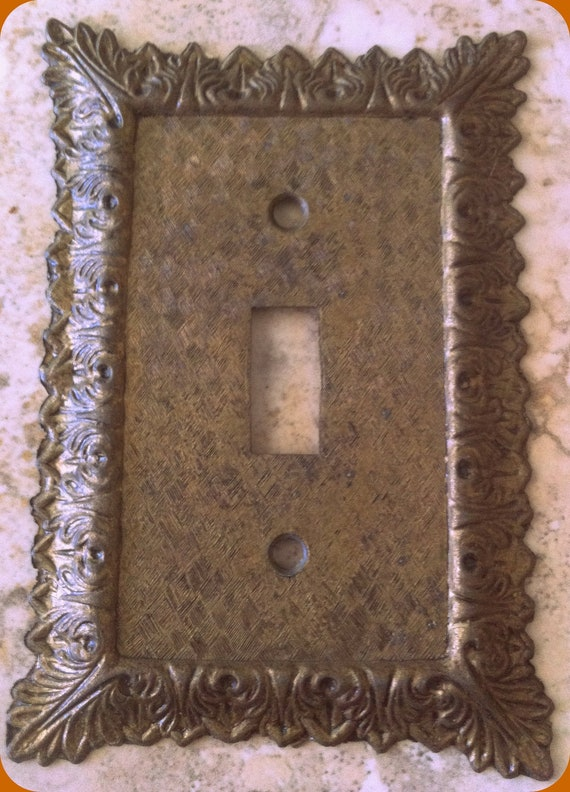 Brass Color Light Switch Plate Single Cast Iron Plate Shabby Chic White Roses Intricate Design Shabby Chic Cottage Chic