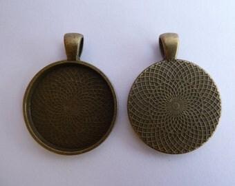 10 x Round Antique Bronze pendant trays - blank bezel cabochon setting