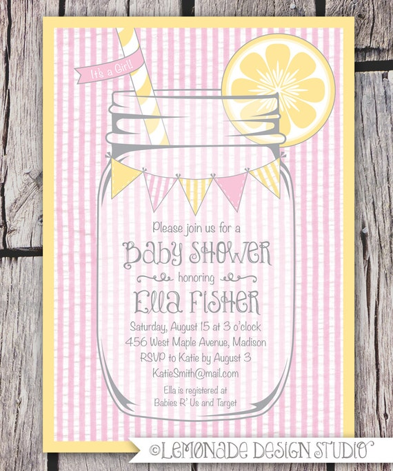 mason jar and seersucker invitation printable baby shower invitation