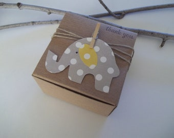 50 Baby Shower gray elephant polka dot favor boxes - 3x3x2 inch - elephant themed baby shower