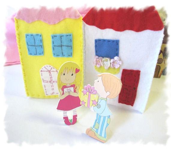 Busy Book, Quiet Activity Book, Wooden Dolls, Waldorf Toy, Felt Cottages