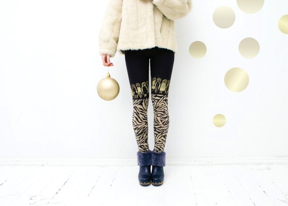 Size: XS, S- Dark brown golden animap skin print  stocking leggings