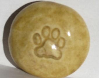 PAW PRINT Pocket Stone - Ceramic - Autumn Leaf Art Glaze - Inspirational Art Piece