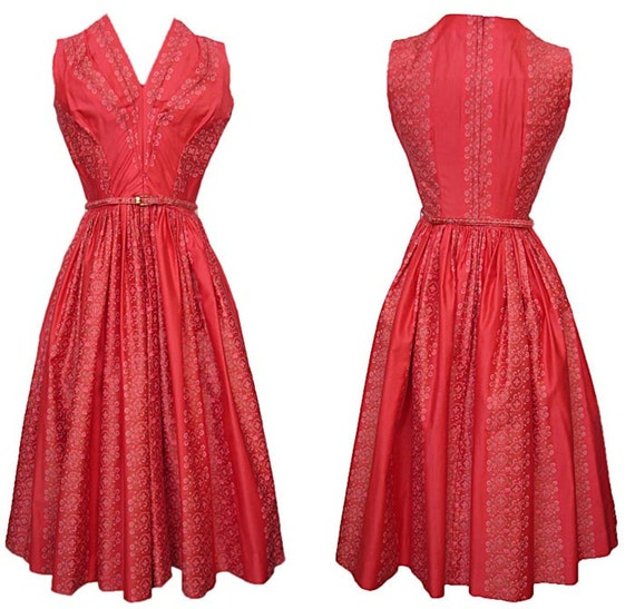 Vintage 1950s Dress ANNE FOGARTY Cotton Print Pleated Bodice Full Gathered Skirt