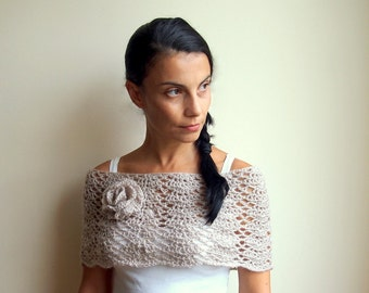 Crochet PATTERN woman lacy capelet  shrug shawl bride wedding loop flower neckwarmer,  DIY tutorial Instant download