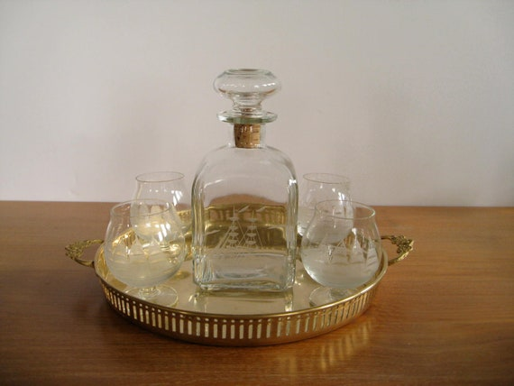 Corked decanter and glasses with etched schooners or ships, vintage nautical barware