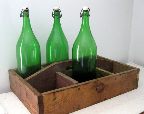 Vintage Green Glass Bottles with Porcelain Stoppers, Extra Large 2 Liter Size, Vintage Beverage Bottle