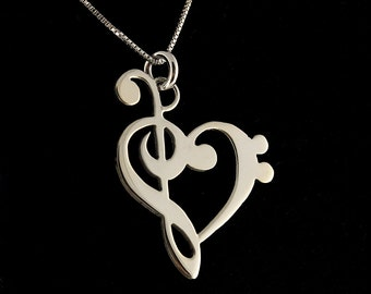 music note necklace G clef bass clef heart Clef Necklace SHINY MIRROR FINISH silver music note Treble clef Pendant charm necklace