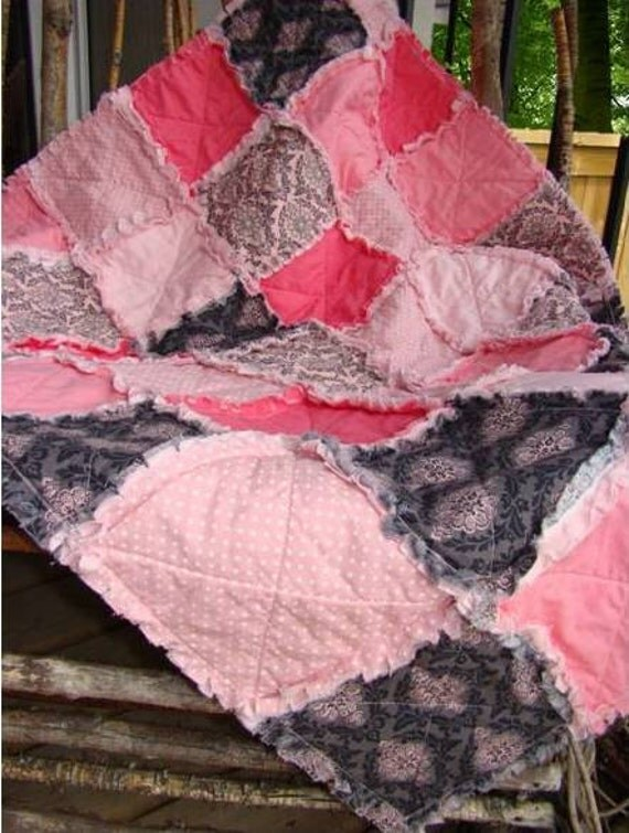 Shabby Cottage Pink Baby Rag Quilt - Crib Size - Soft Pink, Coral, Gray, Grey, Baby Gift, Photoprop