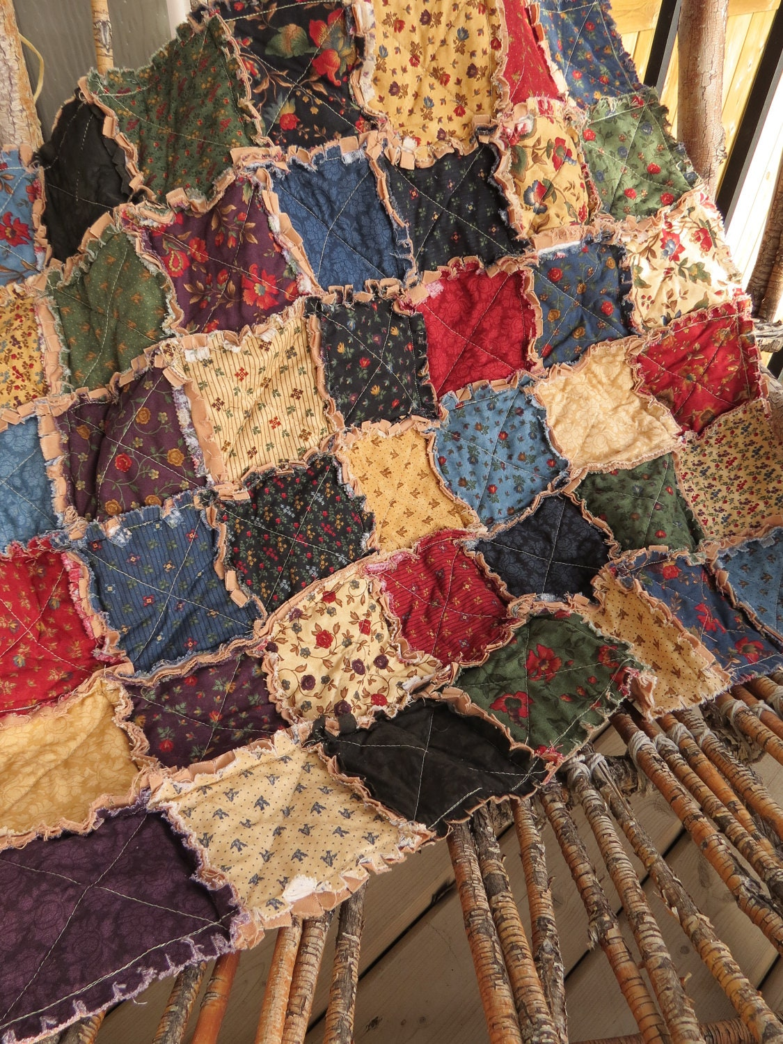 Rustic Cottage Rag Quilt Lap Size Old Fashioned Winter