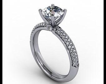 Diamond Pave Engagement Ring Setting Moissanite Center 14k Gold   Ring Name Pretty Pave