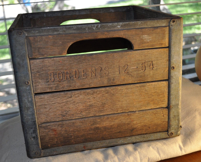 Borden milk vintage wooden milk crate borden 39 s 12 54 for Old wooden crates