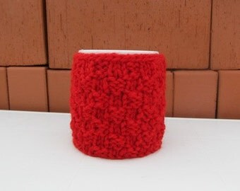 Knitting Red Coffe Cup Cozy, Mug Cozy