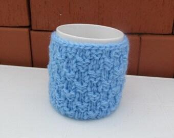 Knitting Blue Coffe Cup Cozy, Mug Cozy